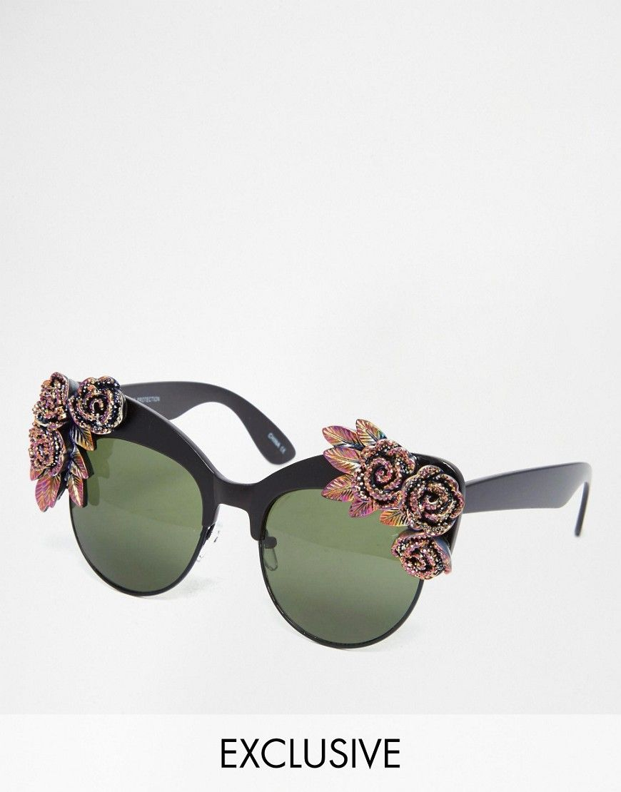 Rad+++Refined+Cat+Eye+Sunglasses+with+Multi+Coloured+Glitter+Roses
