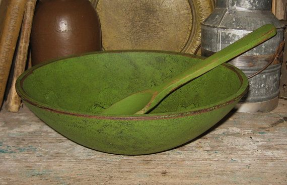 Handpainted Wooden Dough BOWL and SPOONAntique by ThePickledPossum, $28.00