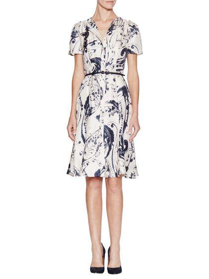 Belted Printed Shirt Dress by Carolina Herrera at Gilt