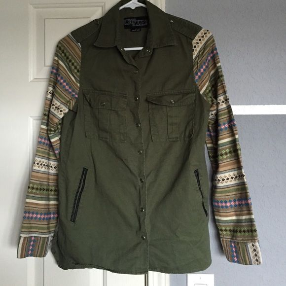 Army green jacket with printed sleeve Army green jacket with printed sleeve Jackets & Coats
