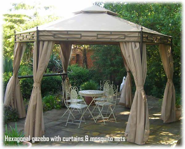 Gazebo With Curtains Amp Nets Hexagonal