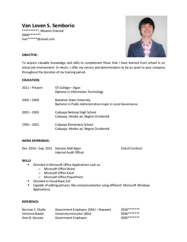 Student Resume Format Sample Resume For Ojt  J  Pinterest  Sample Resume