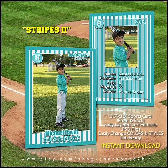2017 Baseball Sports Trader Card Template For Photoshop STRIPES II
