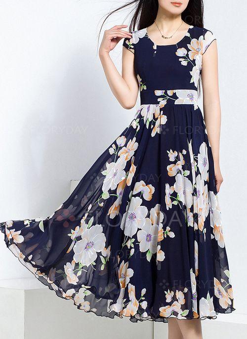 Vestidos 8672 Vestidos Chifón Floral Midi Sin Mangas