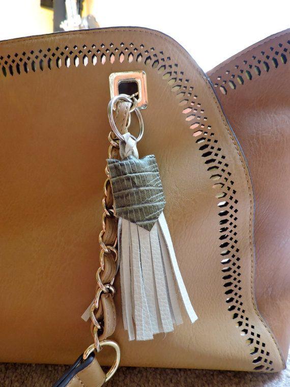 Taupe Tassel keychain. Purse/key accessory.  by MeggieRiley on Etsy
