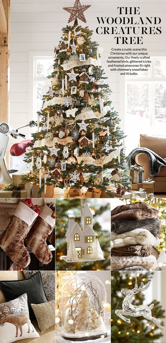 Rustic Woodland Creatures Christmas Tree Cabin Christmas Woodland Christmas Tree Christmas Decorations