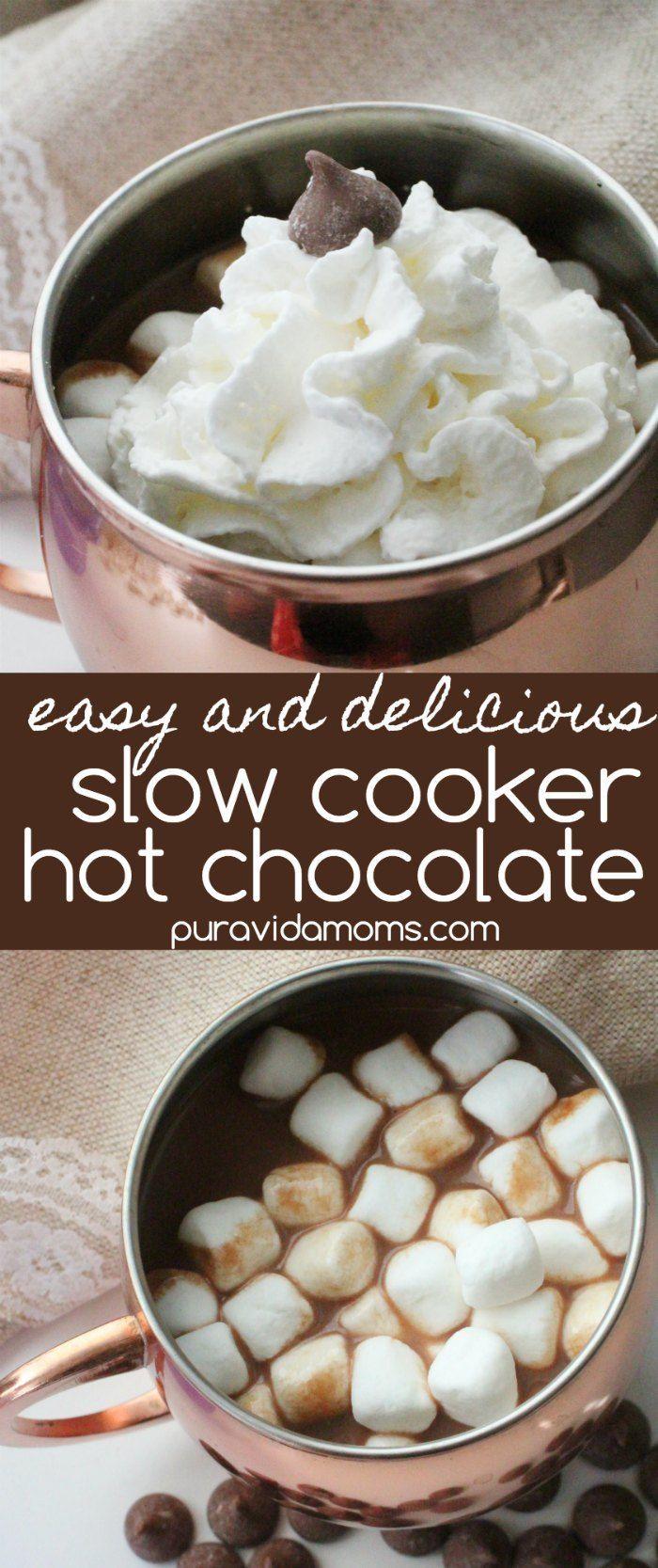 Easy Crockpot Hot Chocolate Recipe #hotchocolatebar