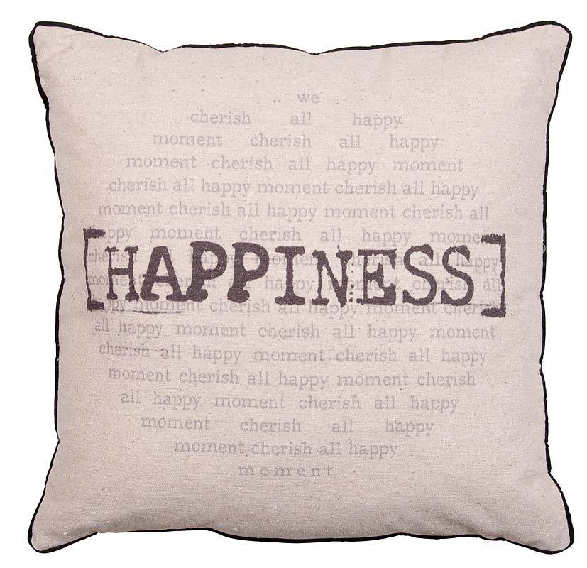 Sierkussen Jur: happiness kussen in beige met zwart #stoere ...
