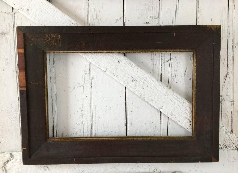 Wooden Frame Antique Frame For Mirror Or Picture Vintage Etsy In 2020 Antique Frames Mirror Frames Primitive Metal