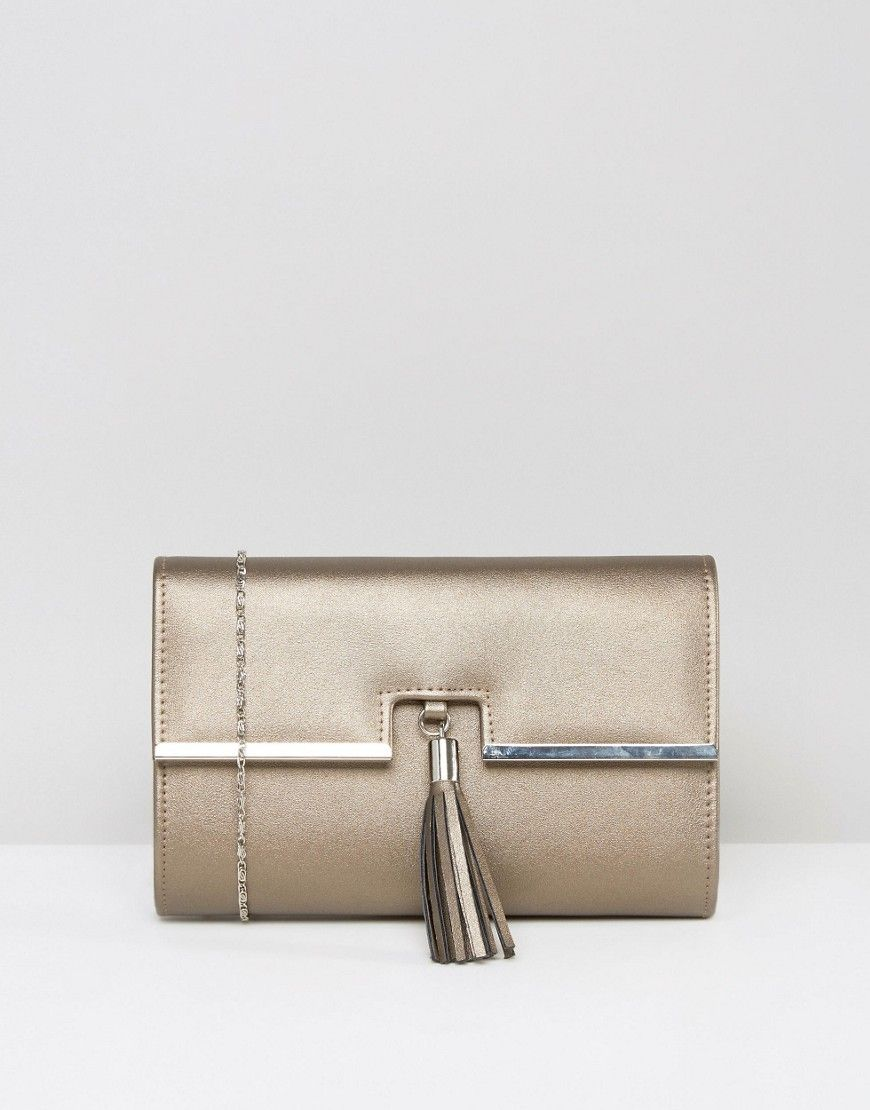 Immagine 1 di Chi Chi London - Pochette a battente color bronzo con nappe