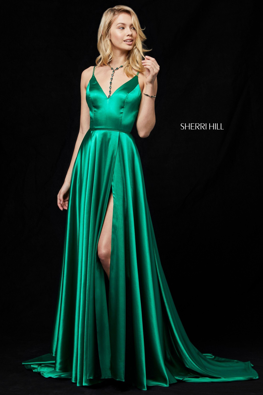 Sherri Hill 52119 V Neck Prom Gown Green Prom Dress Silk Prom Dress Prom Dresses [ 3000 x 2000 Pixel ]