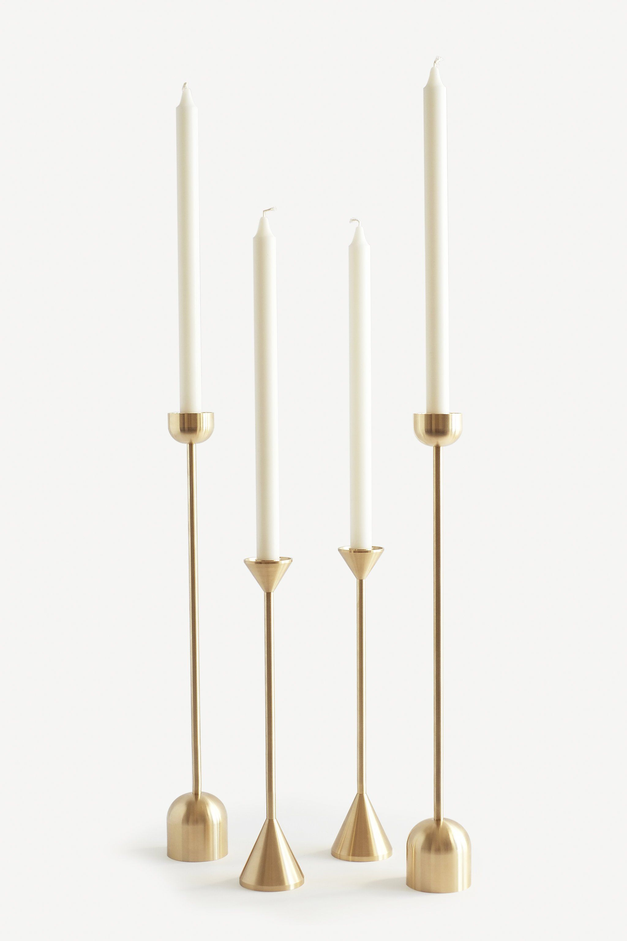 Brass Candleholder Cone Brass Candle Brass Candle Holders Skinny Candle Holders Tall taper candle holders