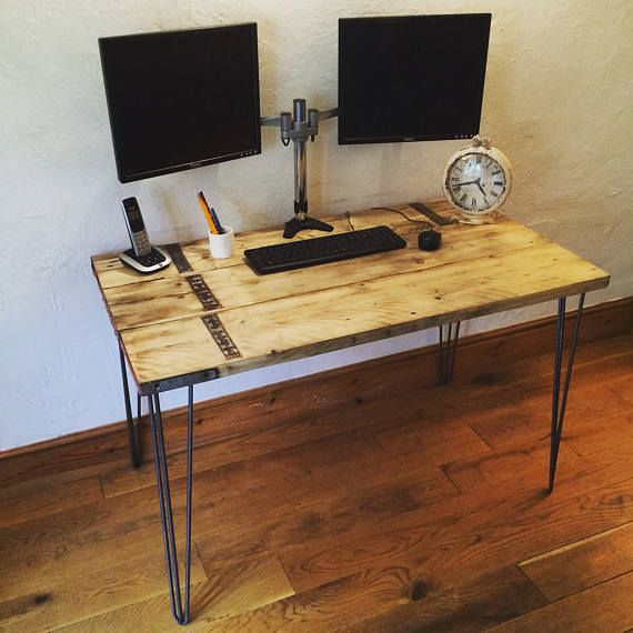 Scaffold board wooden desk with steel hairpin legs computer scaffold board wooden desk with steel hairpin legs computer writing officeskitchen table workwithnaturefo