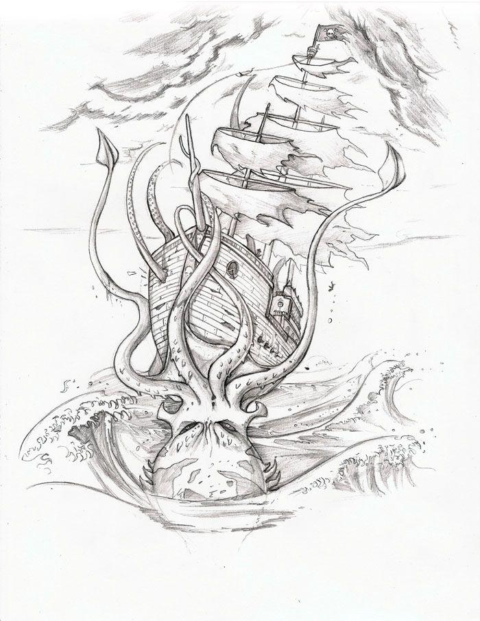 Pirate Ship Vs Squid Ship Tattoo Kraken Tattoo Pirate Ship Tattoo