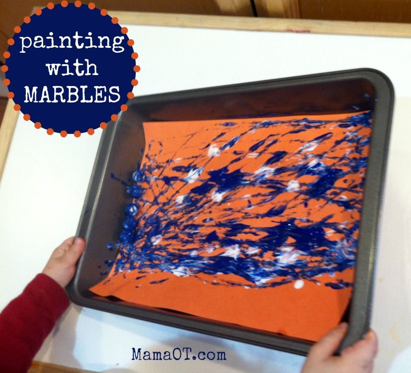 Marble painting is simple, fun, and easy for kids to participate in regardless of age, ability, or diagnosis. Give it a try! #marblepainting