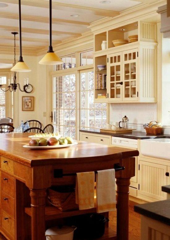 rustikale küchen holz landhausstil holz insel cremige farbe - küche welche farbe