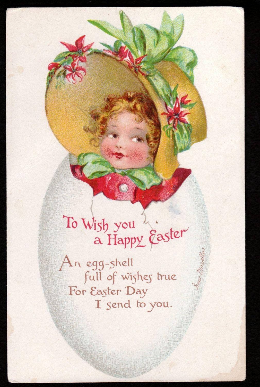 Antique Vintage EASTER Postcard by IRENE MARSSELUS girl coming out of egg Bonnet Nister Publisher. $24.00, via Etsy.