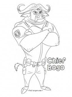 Printable chief bogo zootopia coloring pages for kidsprint out
