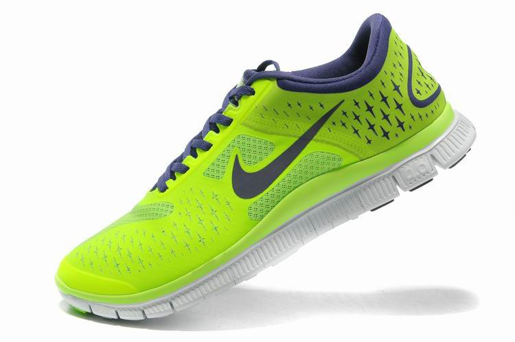 Herren Nike Free 4.0 V2 Schuhe Fluorescent Grun Lila