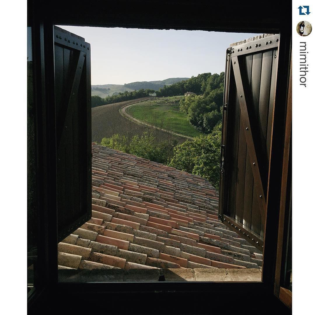 A window over the Umbrian countryside of Podere la Cerqua Repost @mimithor  Waking up to a view #umbria @tuscany_now #glorious #septemberinitaly