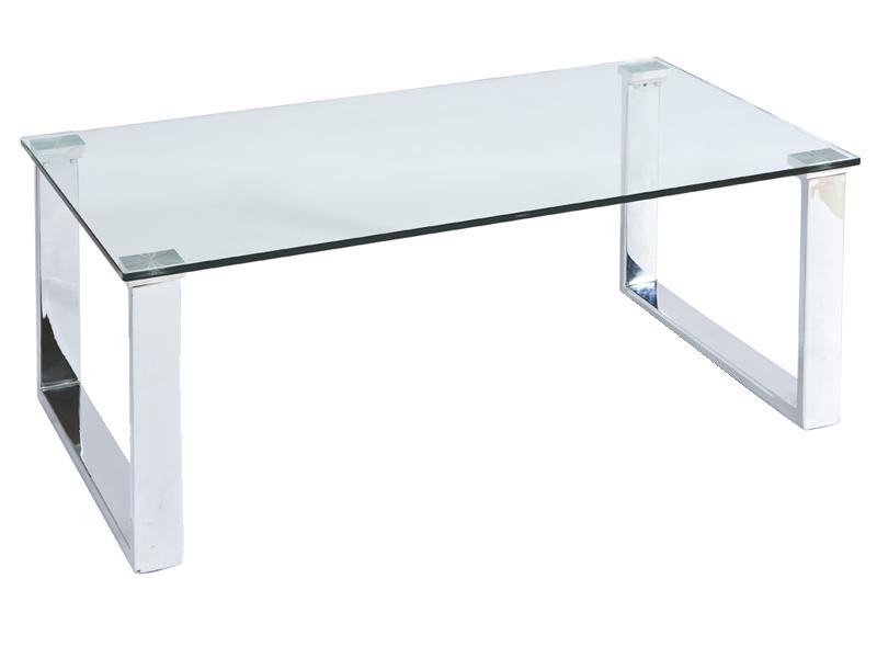 Mooie Glazen Eettafel.Mooie Glazen Design Salontafel Voorzien Van U Vormige Chromen Poten