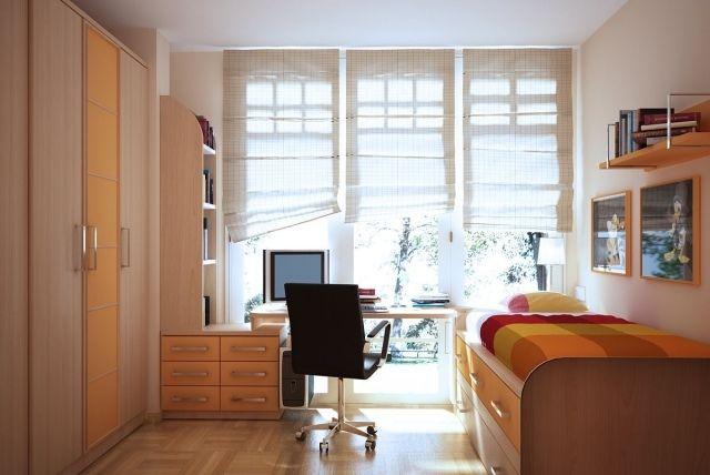 Jugendzimmer Klein Mädchen Junge Orange Holz Möbel Kinderzimmer