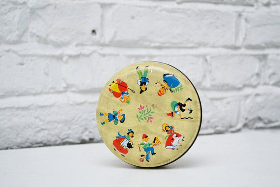 Small round tin box colourful W.Horner England by itsvintageindeed, £12.00