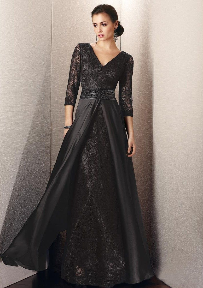 Buy aline vneck sleeves lace elastic woven mother of the bride