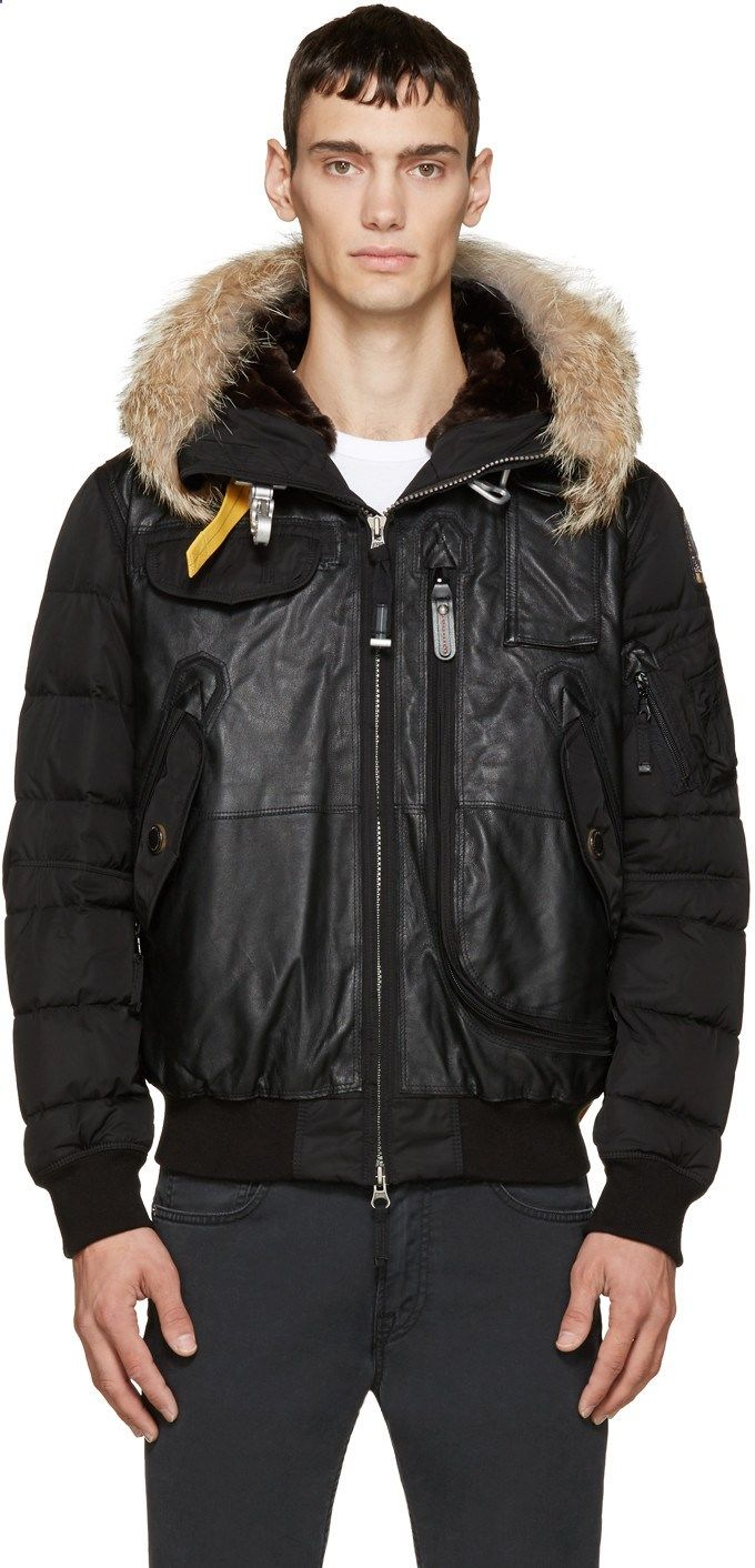 Parajumpers Black Leather Fur Grizzly Bomber Jacket