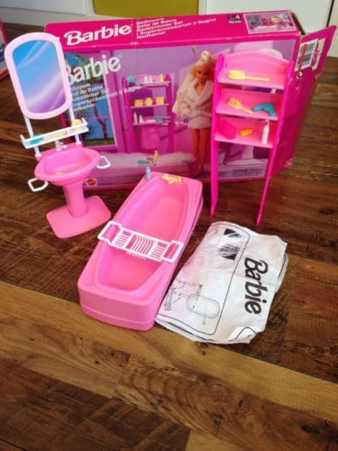 Barbie Bathroom Boxed Vintage 90s Set Rare Retro Mattel Barbie