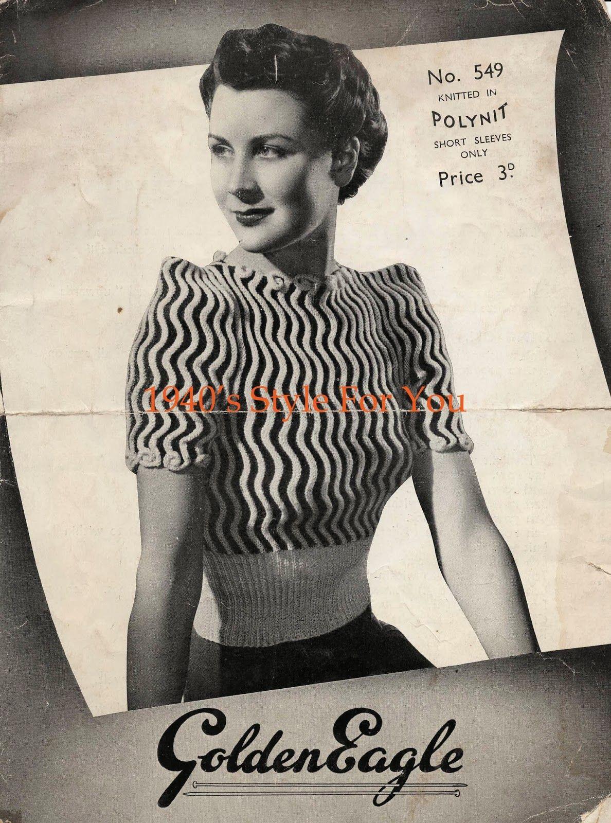 1940\'s Knitting - Seawaves Jumper FREE KNITTING PATTERN | Garn ...