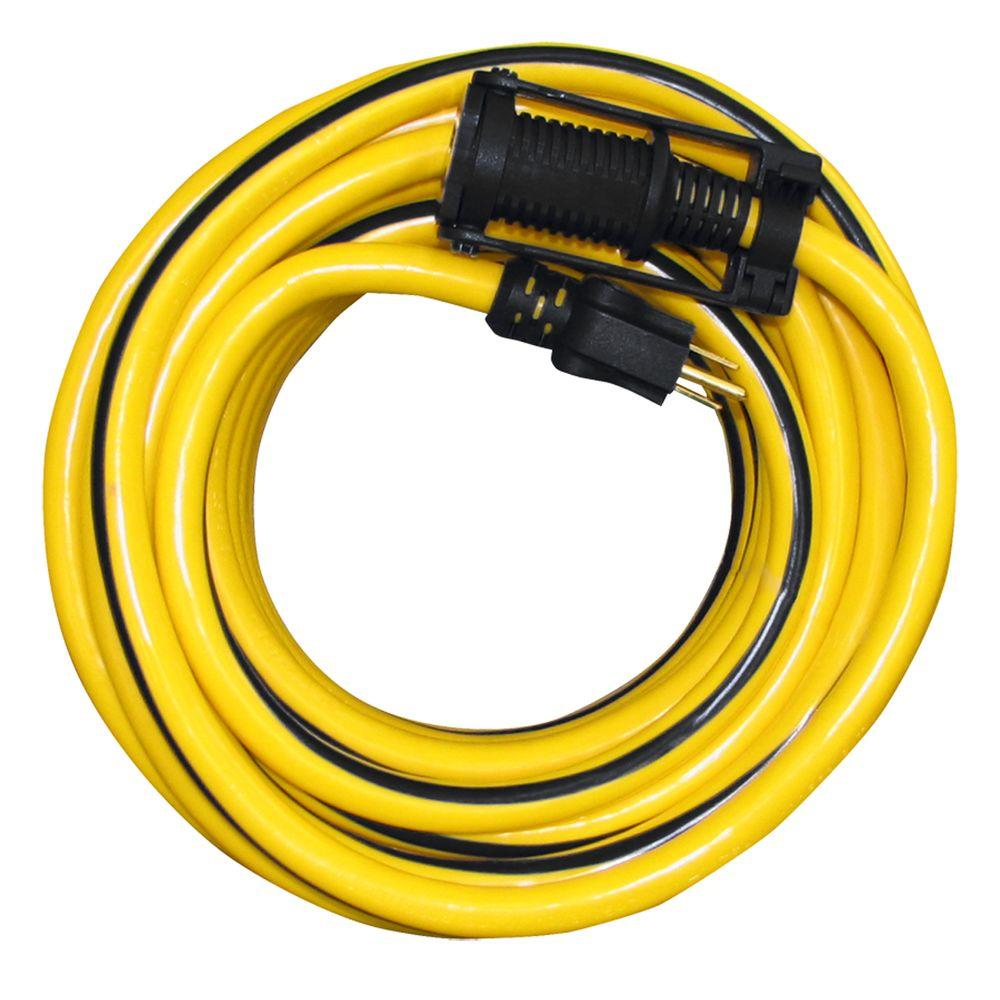 Tasco 100 Ft 10 3 Sjtw Outdoor Extension Cord With E Zee Lock And Lighted End Yellow With Black Stripe Yellow Black Outdoor Extension Cord Extension Cord Black Stripes