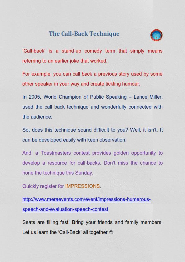 Callback Poster Humour Publicspeaking Speechcontest Humorous