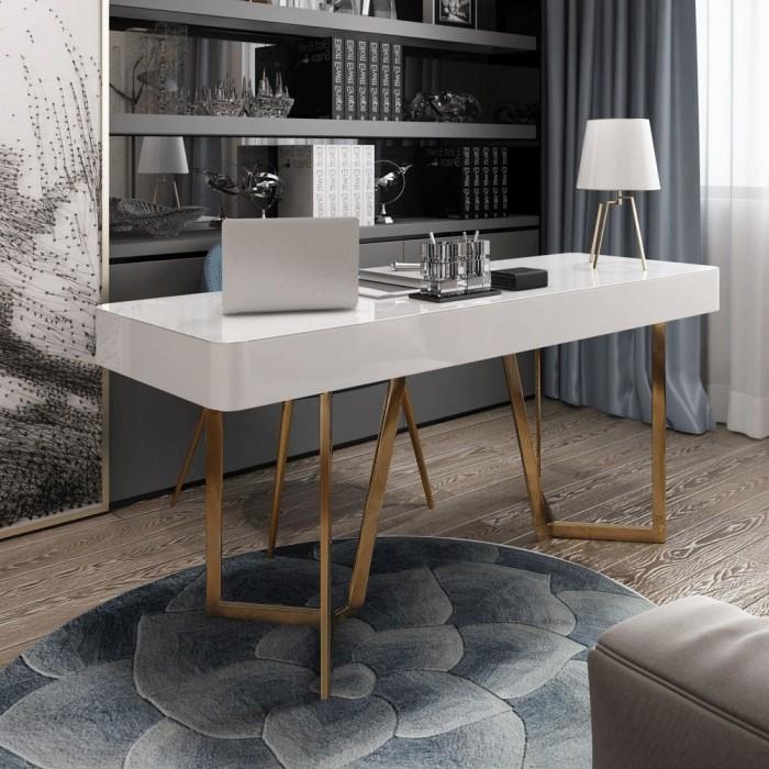 Lenox Modern White Office Desk With Three Drawers Modanifurniture Homedecor Homedecorideas Furn Office Furniture Modern Modern White Desk Desk With Drawers