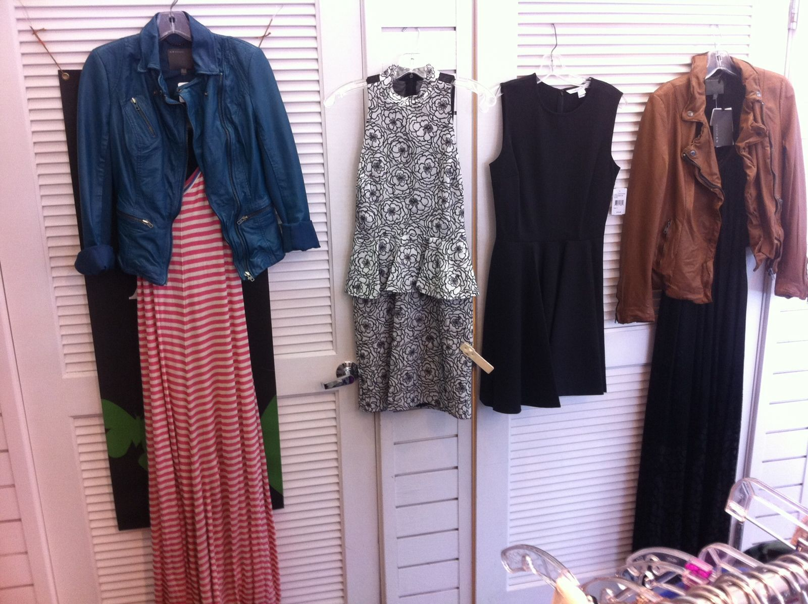 Long red/white/cobalt striped maxi with blue leather moto jacket; black bouncy skirt mini; black detailed lace maxi with brown leather jacket.