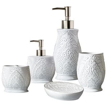 Target Home Glaze Bath Collection Tall Soap Pump Short Dish Toothbrush Holder Tumbler White 44
