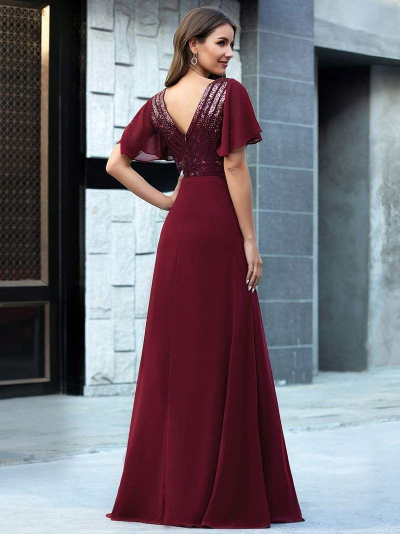 Maxi Long Chiffon and Sequin Evening Gowns with Ruffle ...