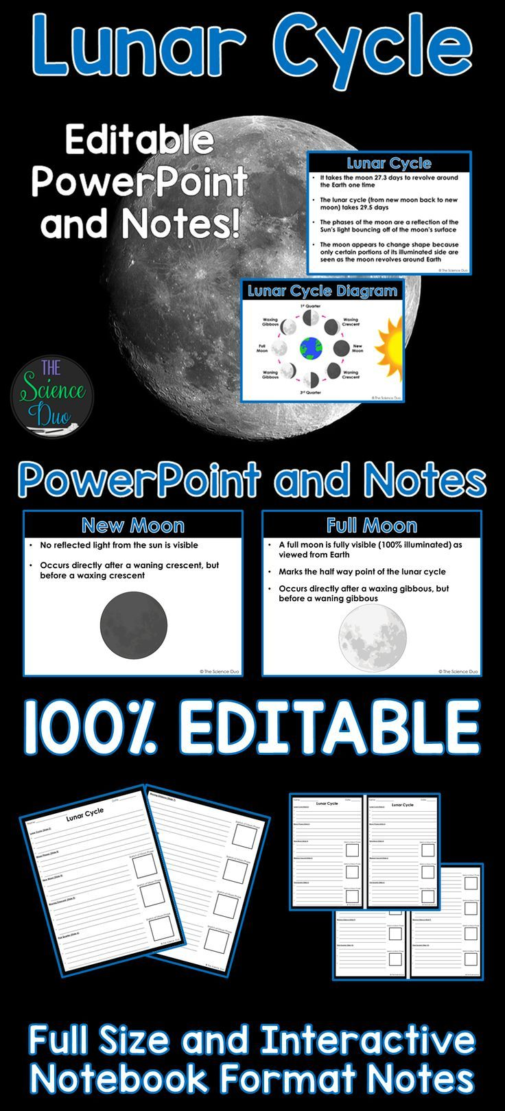 Lunar Cycle And Moon Phases Powerpoint Notes Diagram Phase Introduce Or Help Your Students Review The With This Presentation