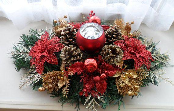 Red Gold Centerpiece / Christmas Centerpiece / Holiday Centerpiece