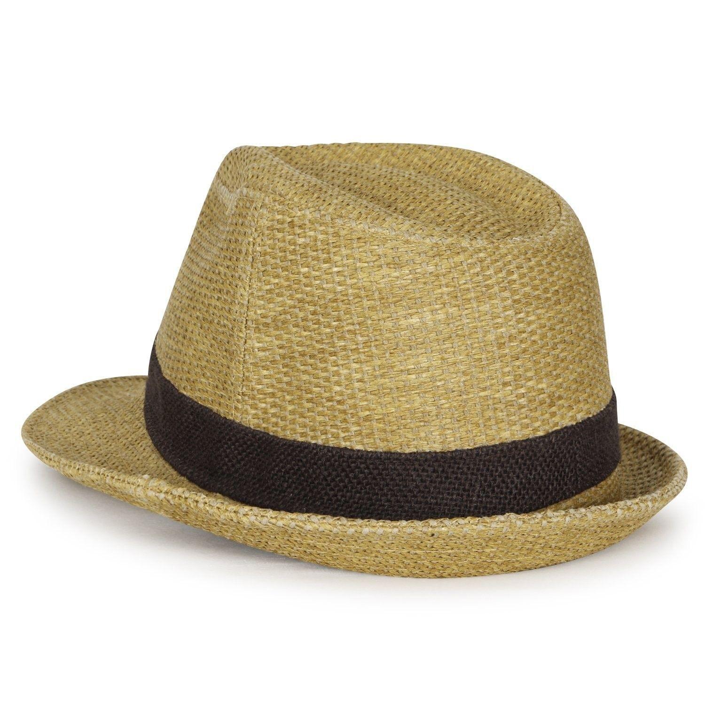 Two-Tone Small Brim Structured Hemp Trilby Straw Classic Fedora Hat ... be7793dd93d