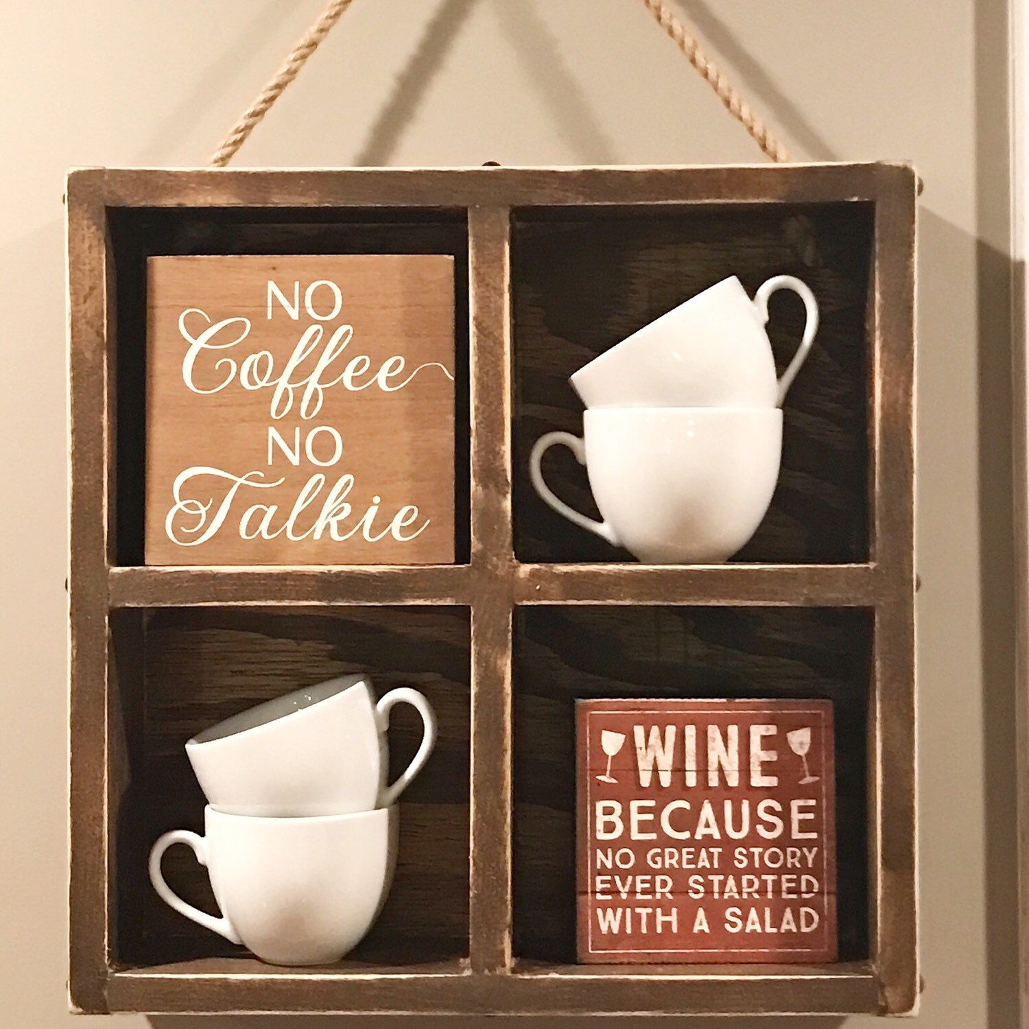 Rae dunn display case coffee cup display wall hanging my