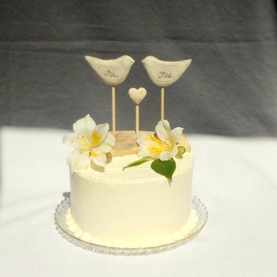 Mr and Mrs Wedding Cake Topper Rustic Cake by WoodenHeartButtons ...