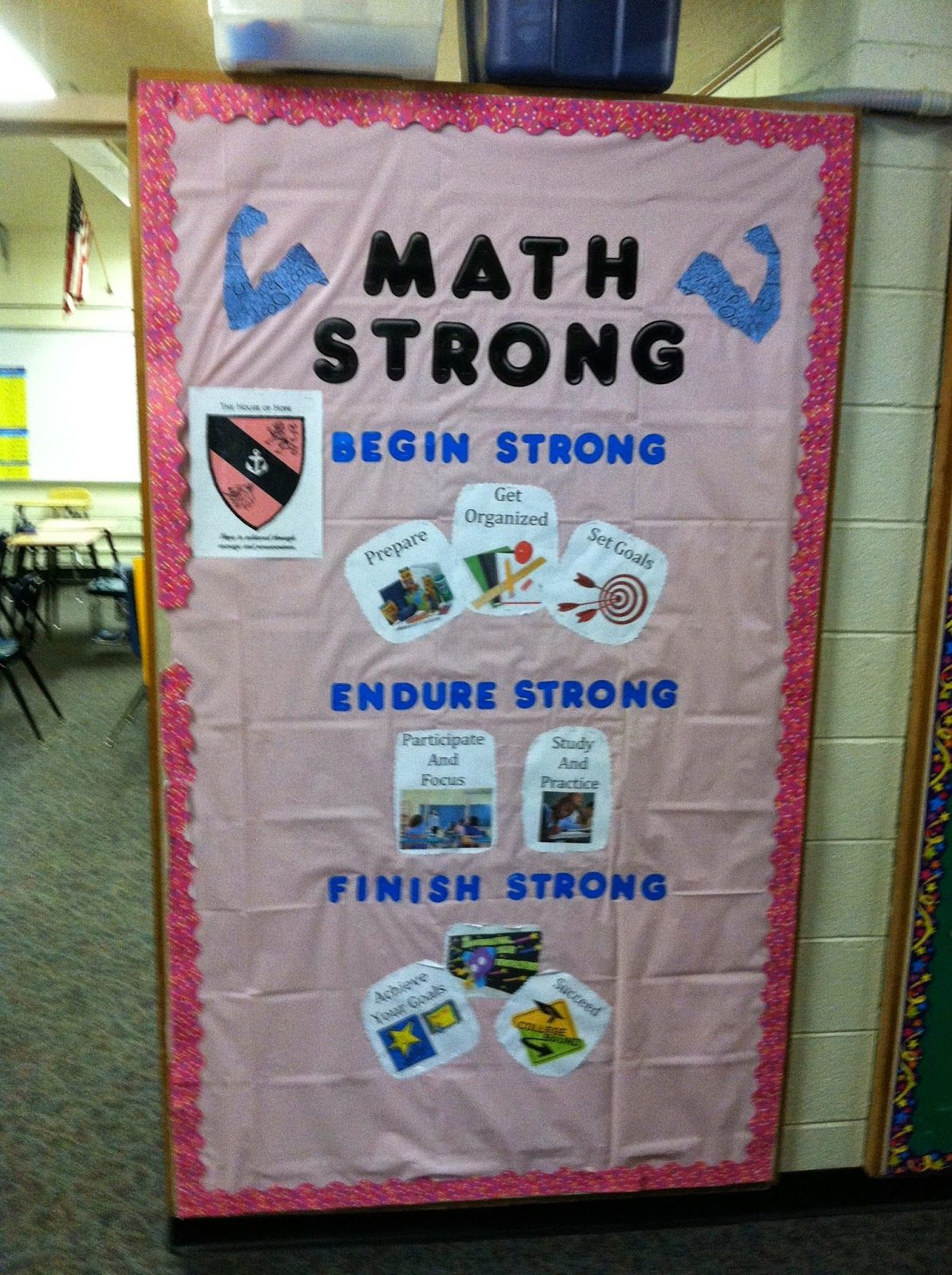 Houses - House of Hope. A Math teacher gets her subject area included on her hallway bulletin board (along with our theme, Arrowhead Strong, and her pink (house color).