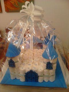 Manualidades Caseras: faciles Castillo de pañales para regalos de bebe