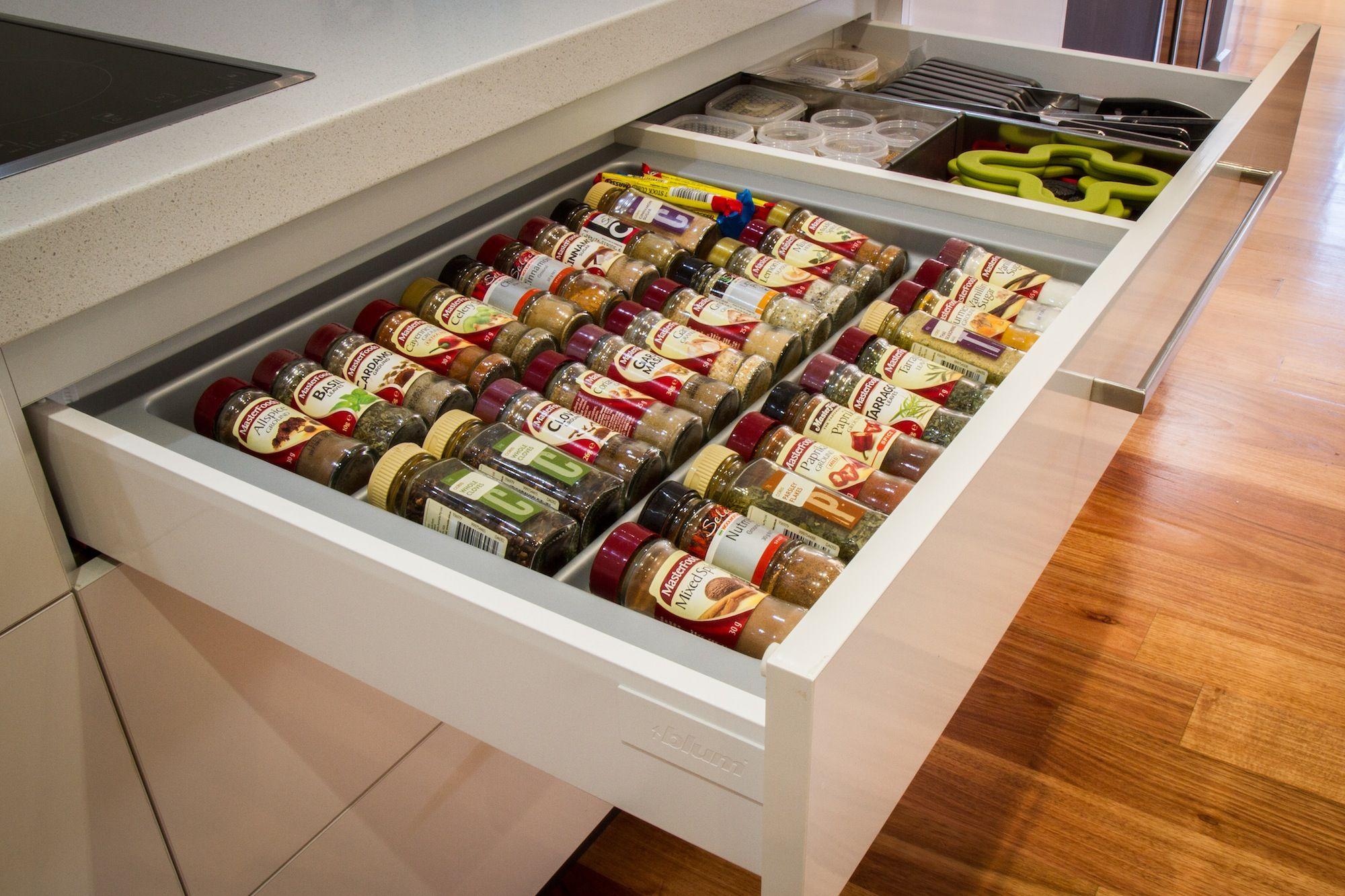 Kitchen drawer inserts for spices - Spice Drawer Blum Drawer Www Thekitchendesigncentre Com Au