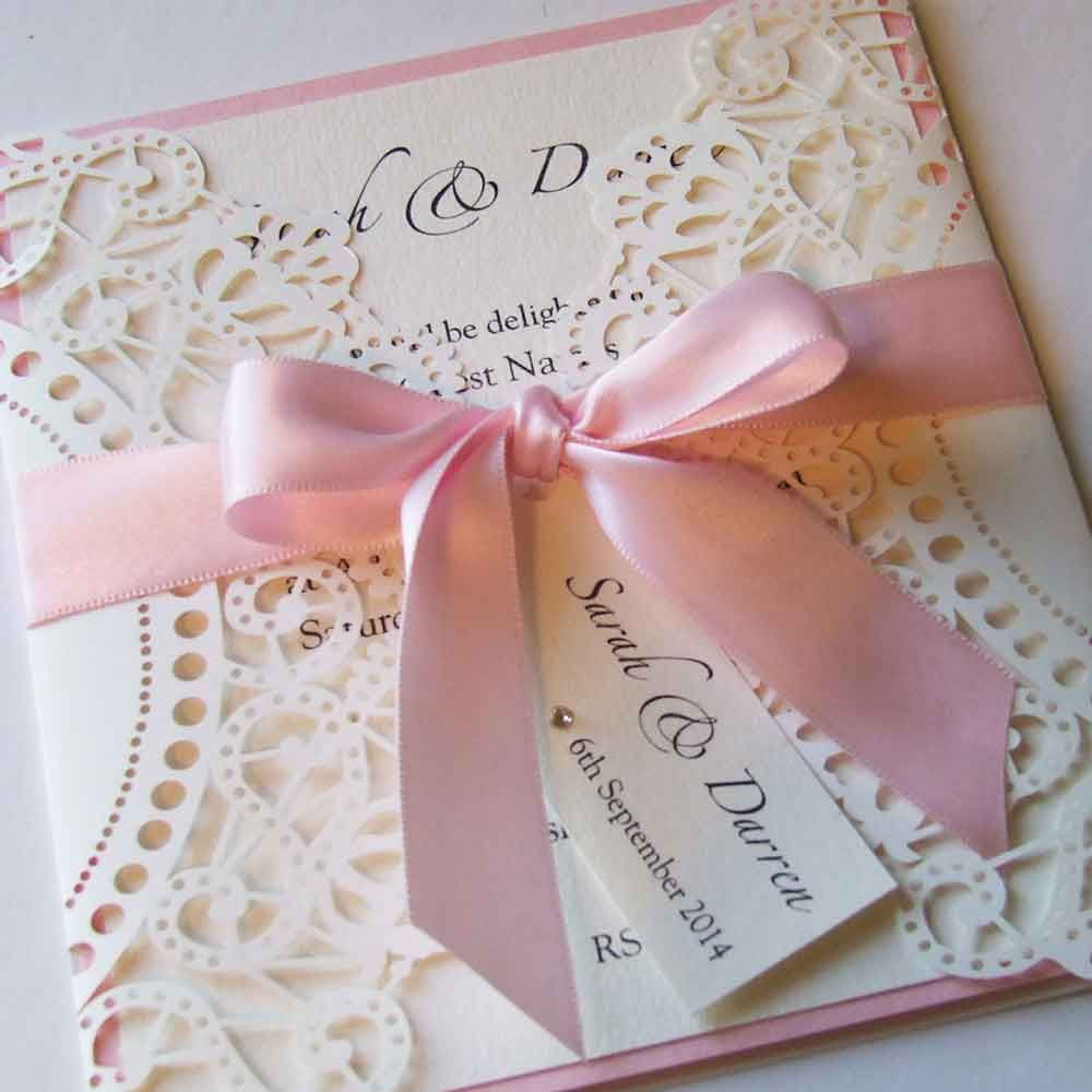 This Laser Cut Doily Style Wedding Invitation Is Finisehd With A