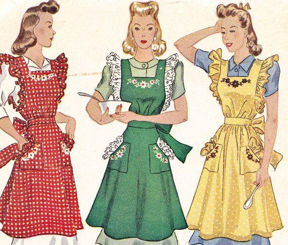 1941 Apron sewing pattern McCall 917 cute ruffles Size medium 14-16 ...