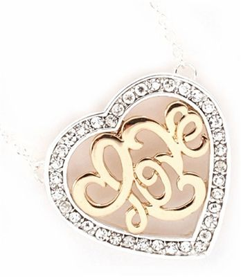 """Two Tone Crystal Studded Monogrammed """"Love"""" Heart Charm Pendant Necklace"""