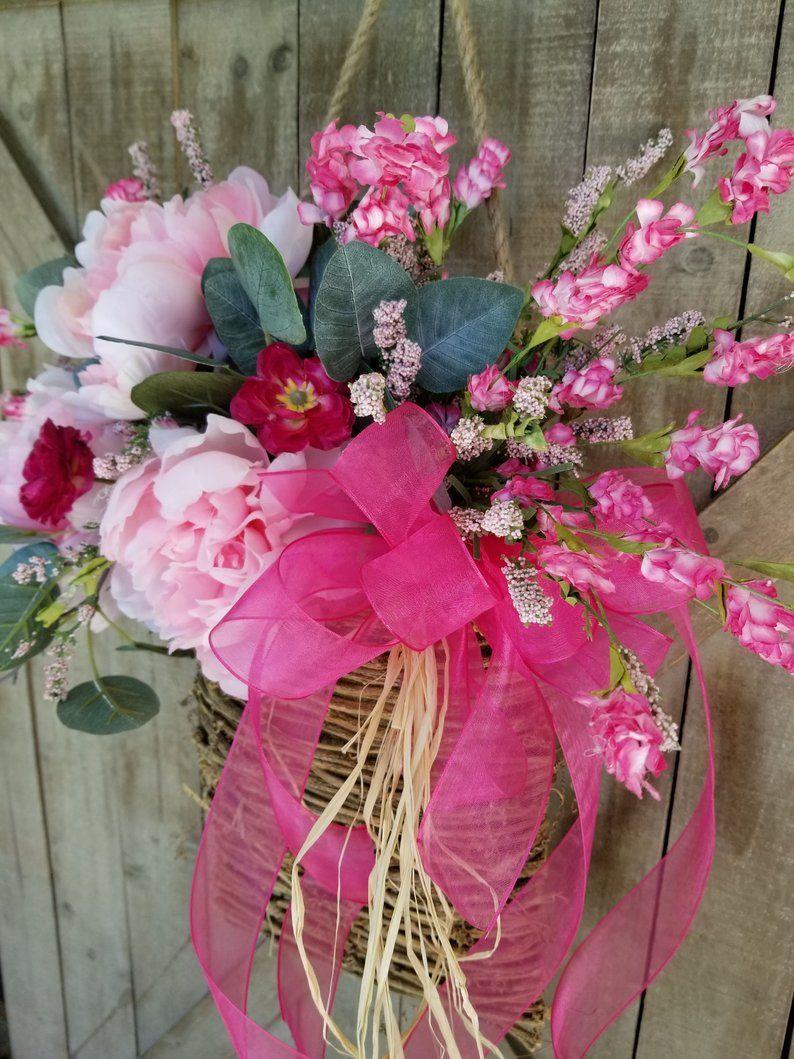 Pink Peony Door Hanger Basket