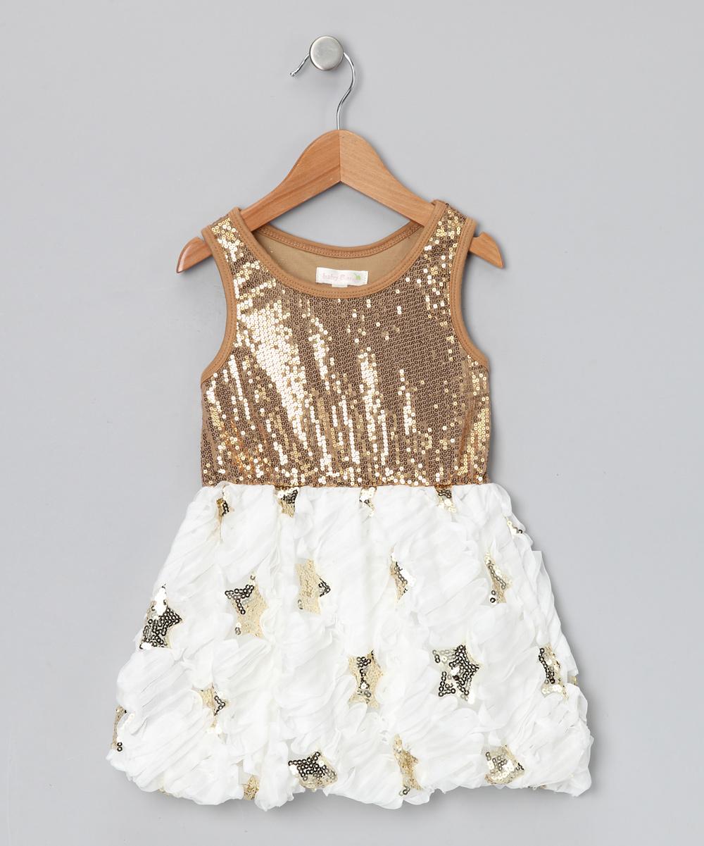 8628098103e9 Gold & White Star Sequin Dress - Infant | kid stuff | Dresses ...